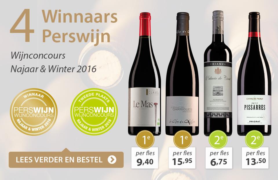 4 x Winnaar Perswijn Wijnconcours - Najaar en Winter 2016 - grijs/goud
