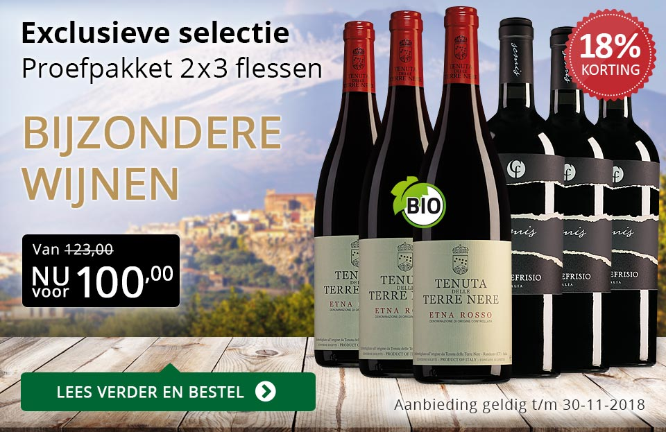 Proefpakket bijzondere wijnen november 2018 (100,00) - goud/zwart