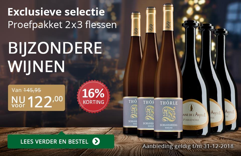 Proefpakket bijzondere wijnen december 2018 (122,00) - goud/zwart