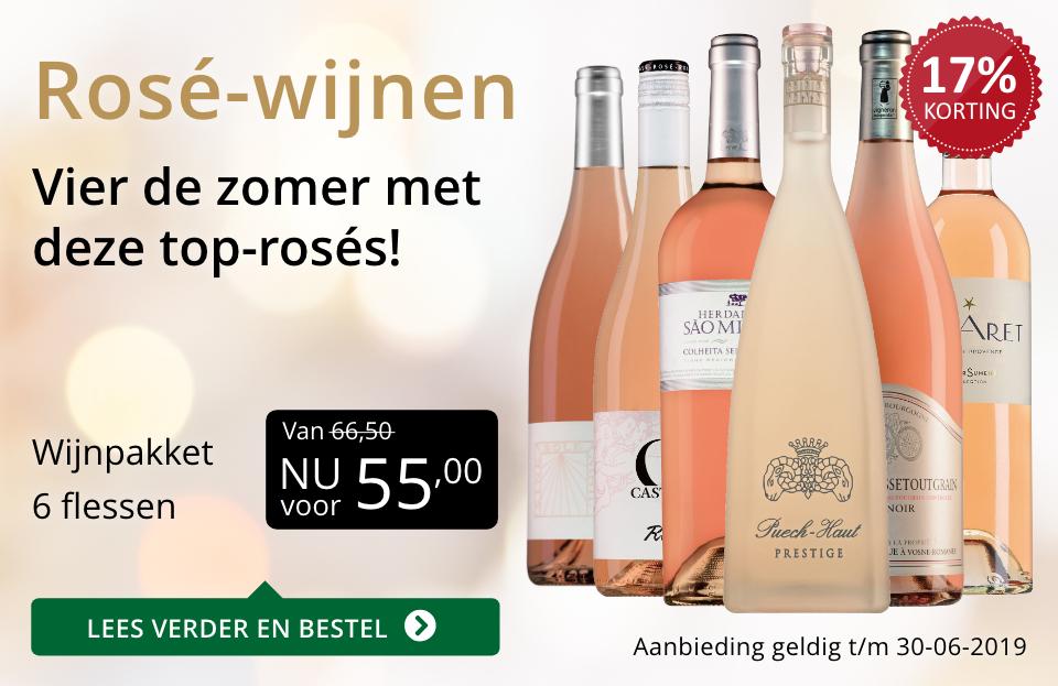 Wijnspecial Wijnpakket Rosé(55,00) - goud/zwart