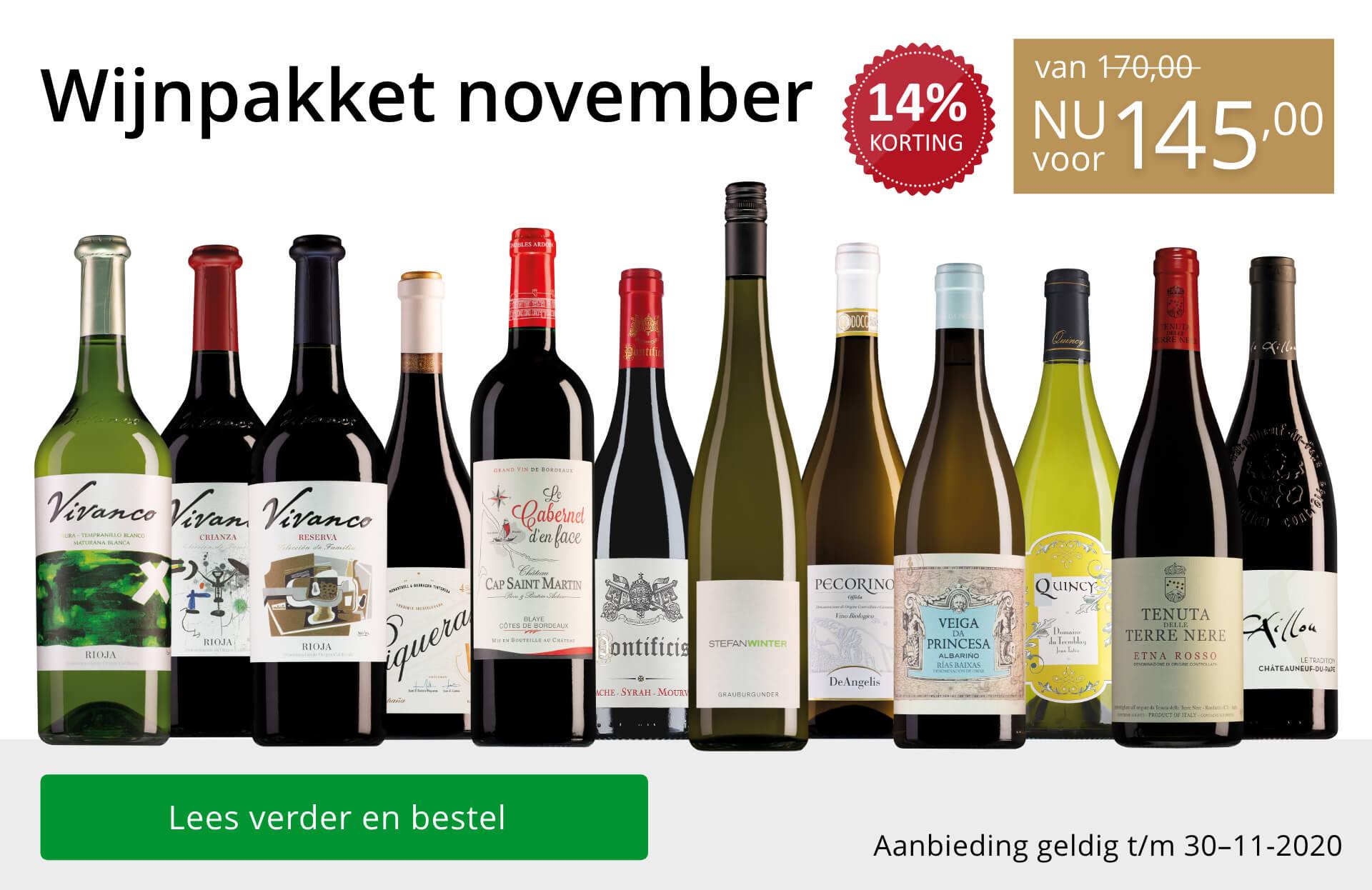 Wijnpakket wijnbericht november 2020(145,00)-goud/zwart