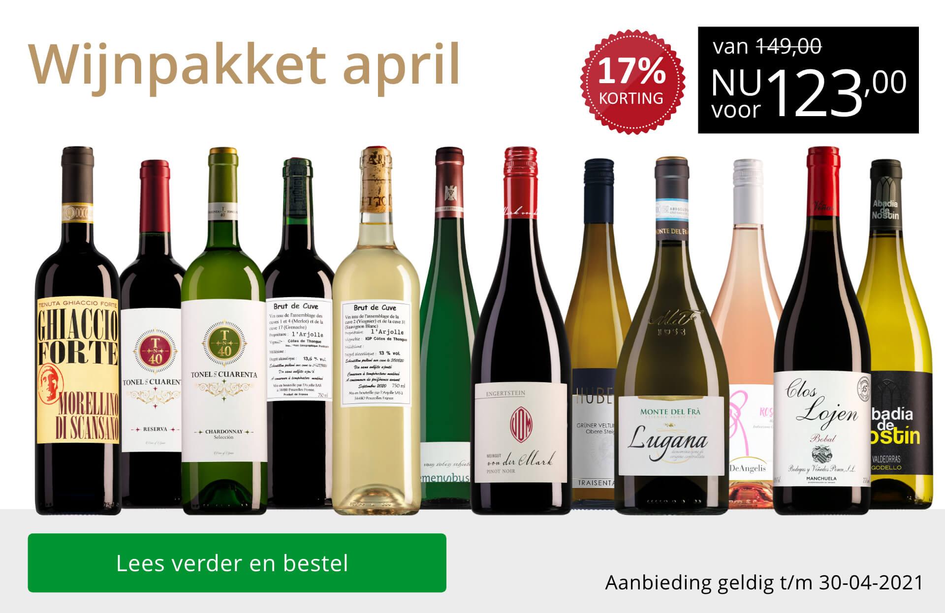 Wijnpakket wijnbericht april 2021 (123,00) - goud/zwart