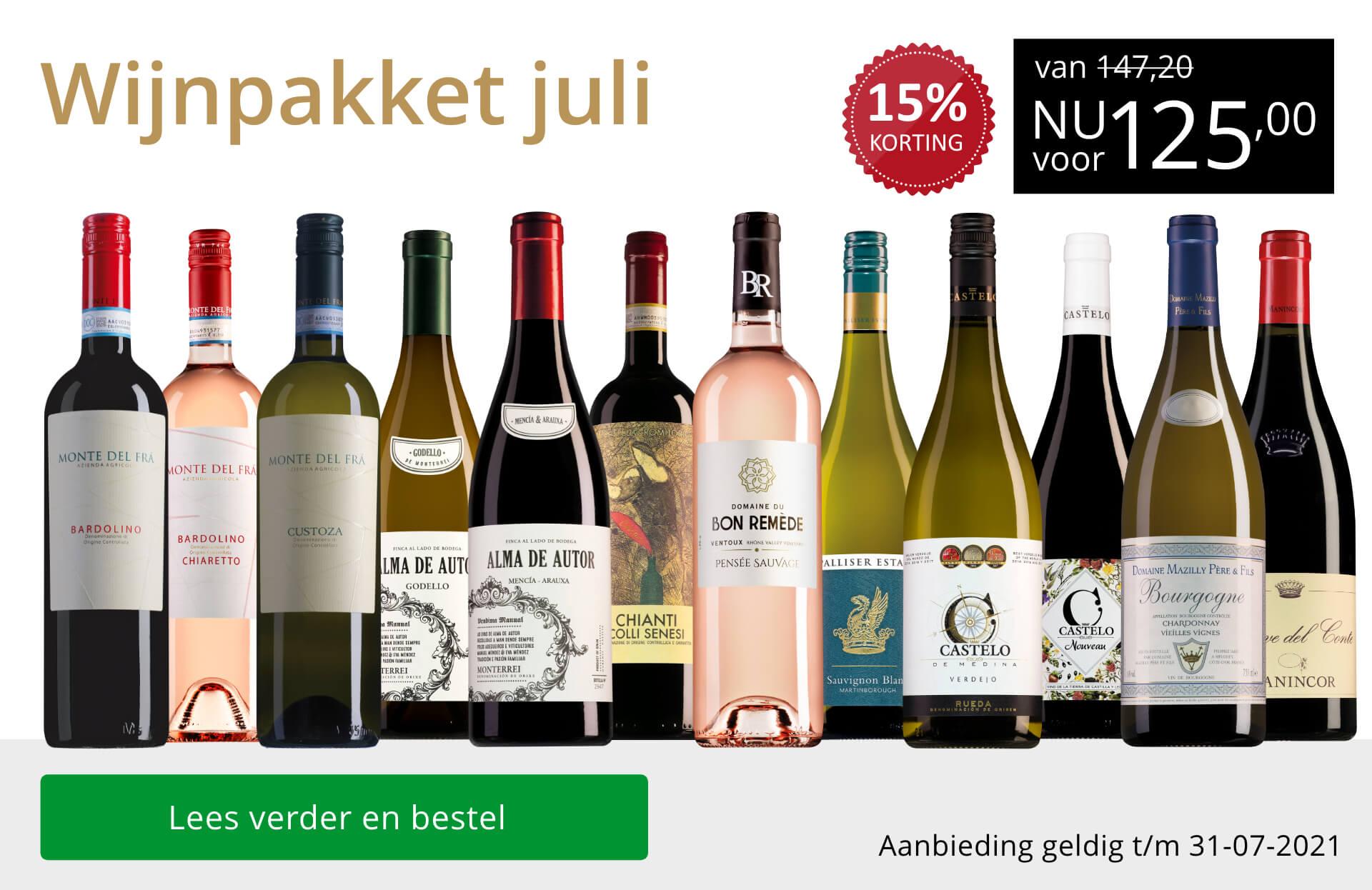 Wijnpakket wijnbericht juli 2021(125,00) - goud/zwart