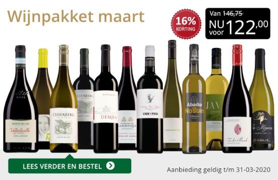 Wijnpakket wijnbericht maart 2020(122,00) - goud/zwart